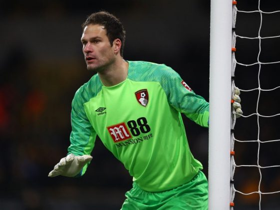 Asmir Begovic of Bournemouth during the Premier League match between Wolverhampton Wanderers and AFC Bournemouth at Molineux on December 15, 2018 in Wolverhampton. (Getty Images)