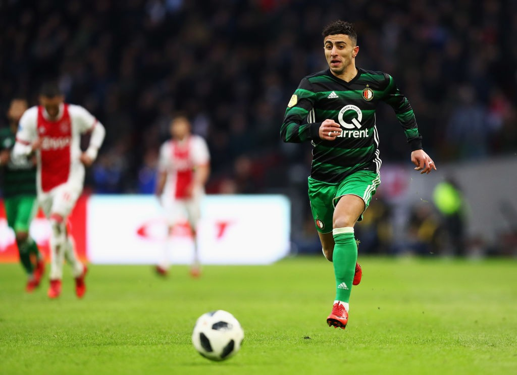 Bilal Basacikoglu of Feyenoord in action during the Dutch Eredivisie match between Ajax Amsterdam and Feyenoord at Amsterdam ArenA on January 21, 2018 in Amsterdam, Netherlands. (Getty Images)