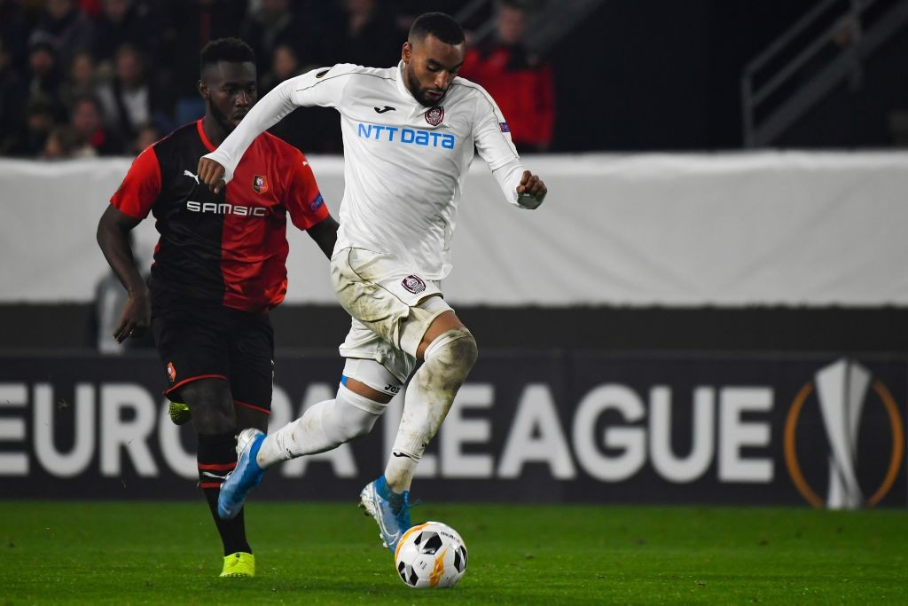 Cluj's French striker Billel Omrani (R) vies with Rennes' French midfielder Eduardo Camavinga during the Europa League Group E football match between Rennes and CFR Cluj at the Roazhon Park stadium in Rennes, on October 24, 2019. (Getty Images)
