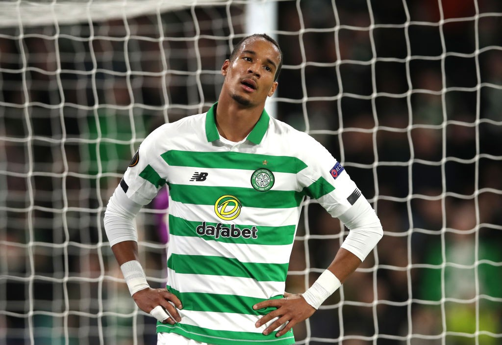 Christopher Jullien of Celtic reacts after Manuel Lazzari of Lazio scored his team's first goal during the UEFA Europa League group E match between Celtic FC and Lazio Roma at Celtic Park. (Getty Images)