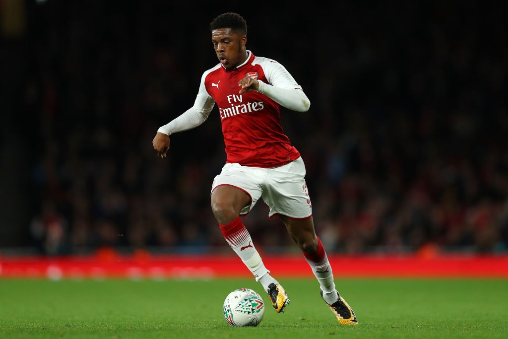 Chuba Akpom of Arsenal in action during the Carabao Cup Fourth Round match between Arsenal and Norwich City at Emirates Stadium. (Getty Images)