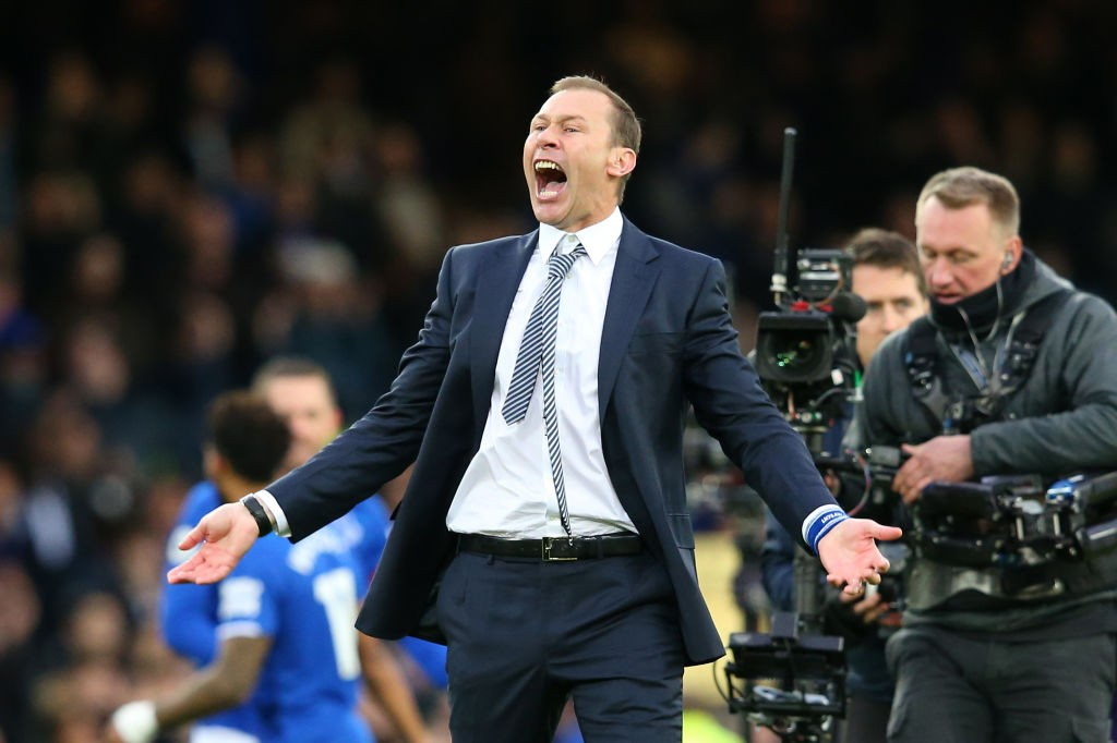 Interim Everton Manager, Duncan Ferguson celebrates victory following the Premier League match between Everton FC and Chelsea FC at Goodison Park on December 07, 2019. (Getty Images)
