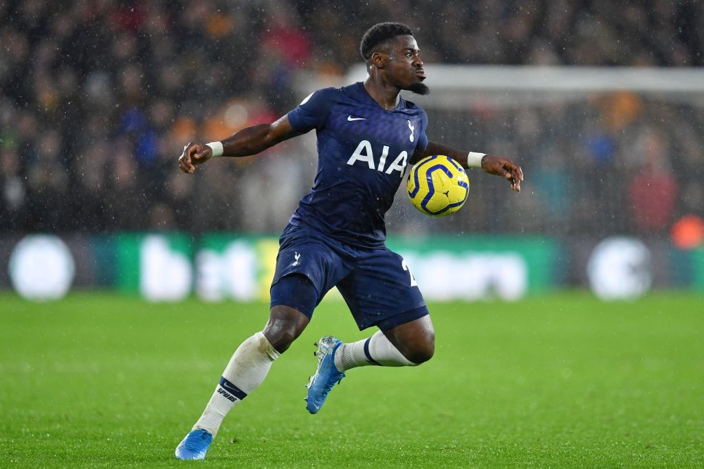 Tottenham right-back Serge Aurier seen in action against Wolverhampton Wanderers.