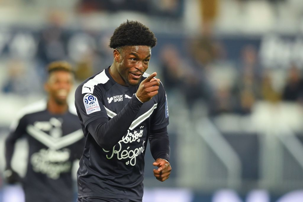 Josh Maja celebrates after scoring for Bordeaux. (Getty Images)
