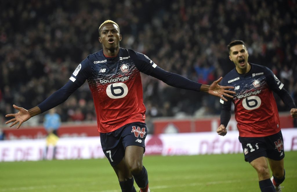 Lille's Victor Osimhen celebrates after scoring a goal during a Ligue 1 game.
