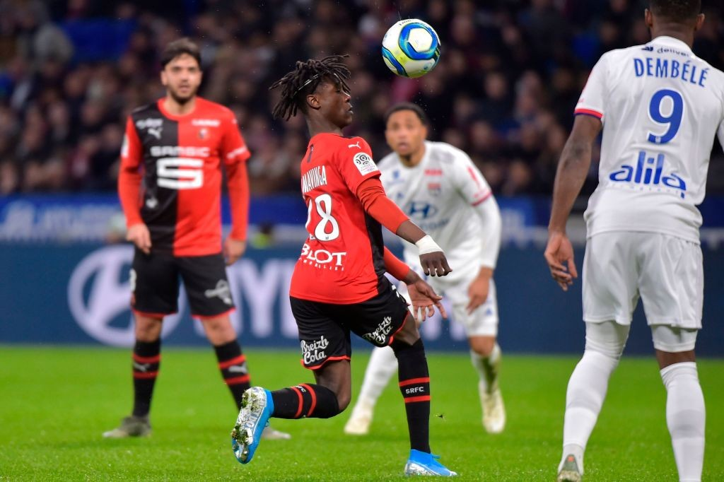 Camavinga in action for Rennais against Lyon.
