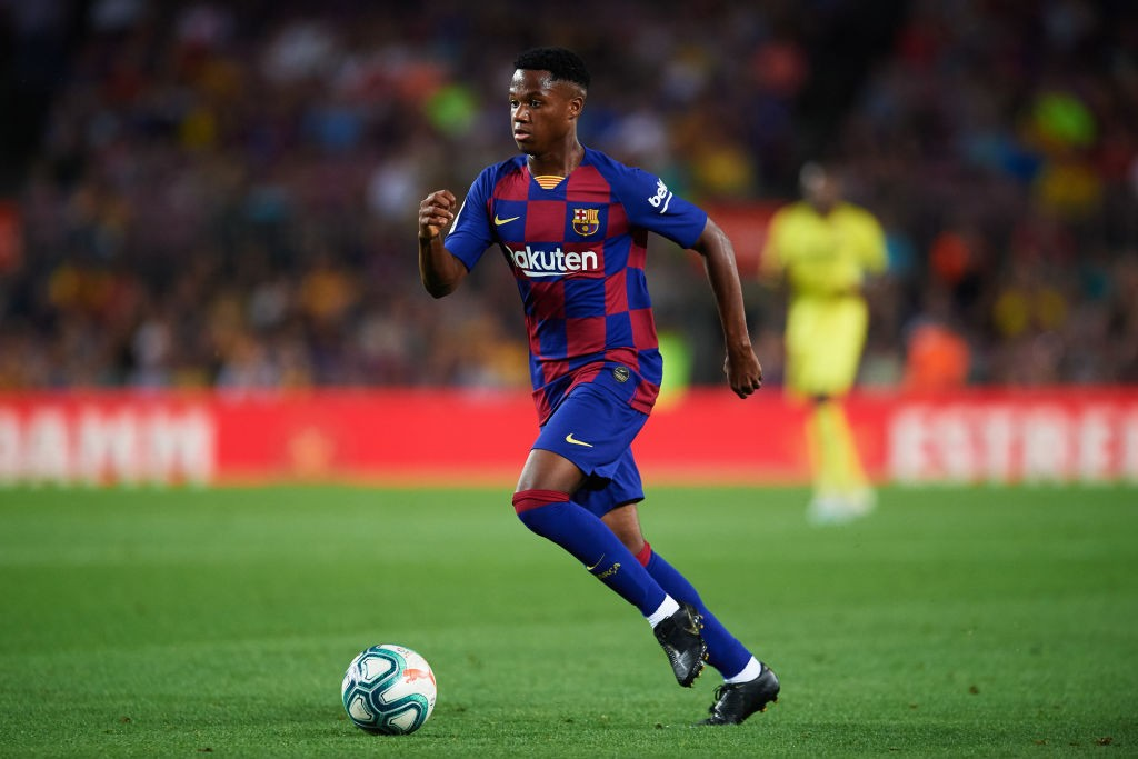 Teenage forward Ansu Fati in action for FC Barcelona.