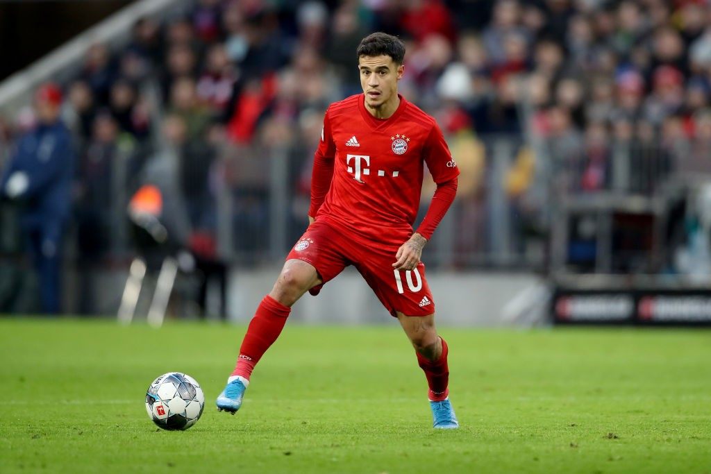 Philippe Coutinho playing for Bayern Munich against Werder Bremen.