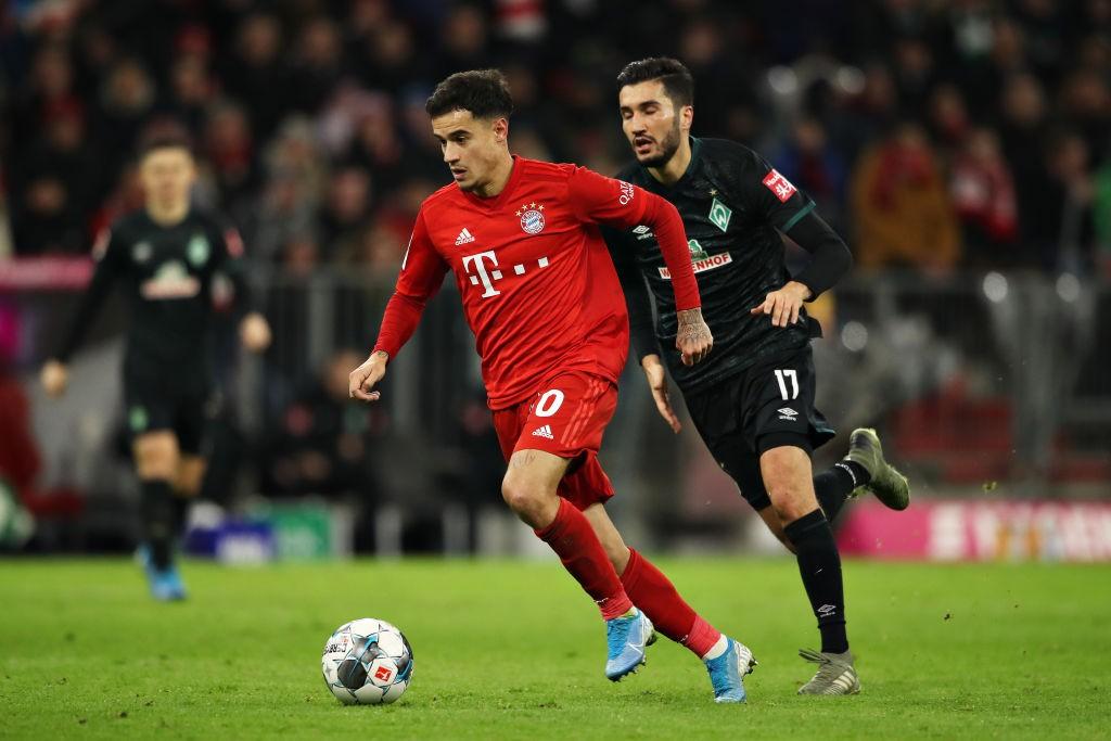 Coutinho dribbles past Werder Bremen's Nuri Sahin.
