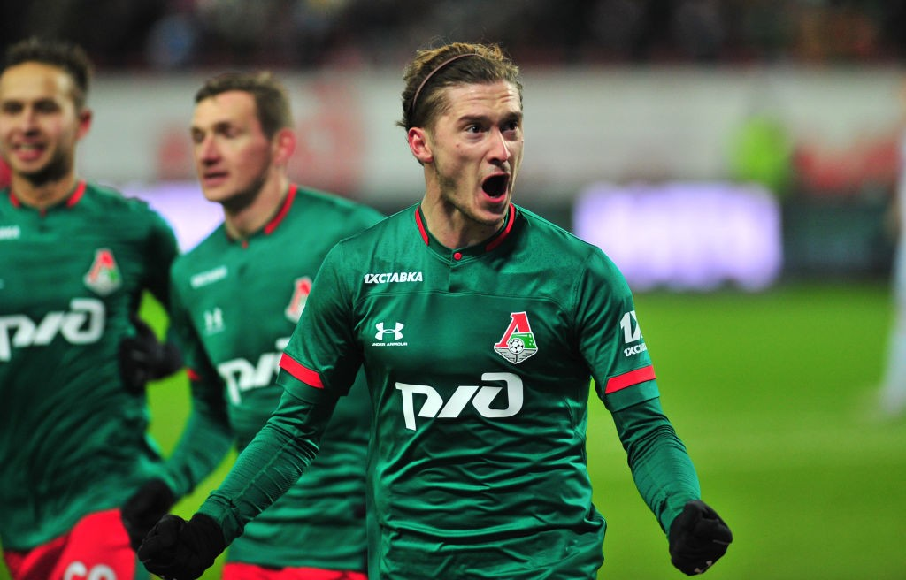 Lokomotiv Moscow playmaker Aleksey Miranchuk celebrates after scoring a goal.