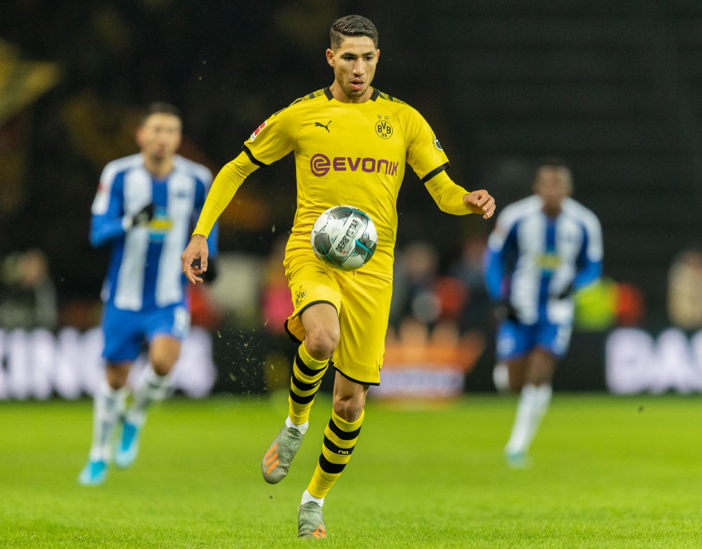 Real Madrid loanee Achraf Hakimi in action for Borussia Dortmund.