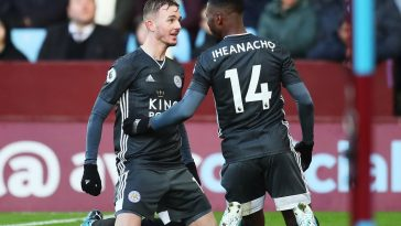 Kelechi Iheanacho of Leicester City celebrates with teammate James Maddison after scoring his team's second goal during the Premier League match between Aston Villa and Leicester City at Villa Park. (Getty Images)