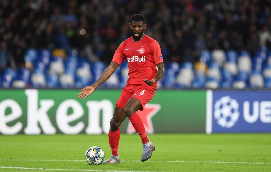 Jerome Onguene of RB Salzburg during the UEFA Champions League group E match between SSC Napoli and RB Salzburg at Stadio San Paolo on November 05, 2019 in Naples, Italy. (Getty Images)