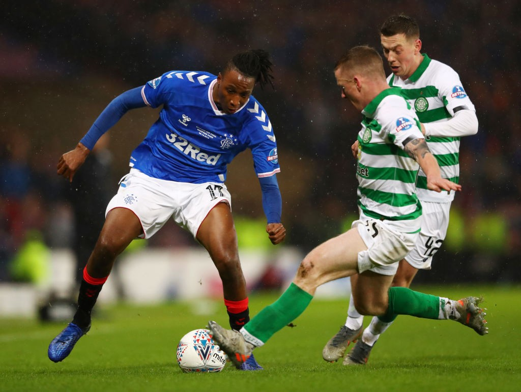 Joe Aribo of Rangers FC battles for possession with Johnny Hayes of Celtic during the Betfred Cup Final between Rangers FC and Celtic FC at Hampden Park on December 08, 2019 in Glasgow, Scotland. (Getty Images)