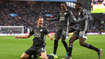 Jonny Evans of Leicester City celebrates after scoring his team's third goal during the Premier League match between Aston Villa and Leicester City at Villa Park. (Getty Images)