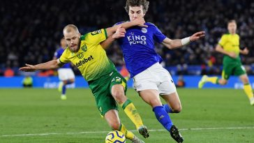 Teemu Pukki of Norwich City battles for possession with Caglar Soyuncu of Leicester City during the Premier League match between Leicester City and Norwich City at The King Power Stadium on December 14, 2019 in Leicester. (Getty Images)