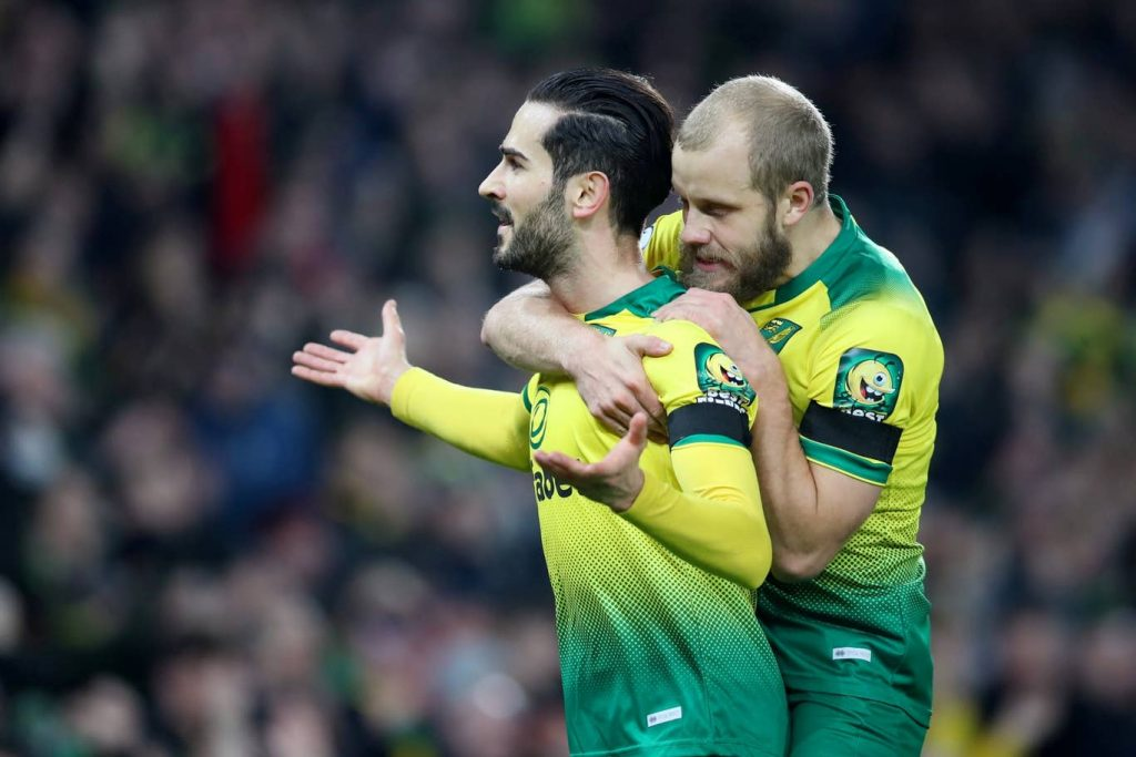Norwich City midfielder Mario Vrancic celebrates after scoring. (Getty Images)