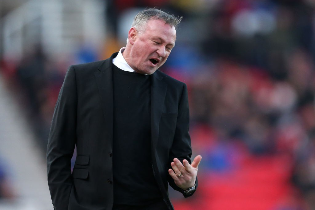 Michael O'Neill, manager of Stoke City reacts on during the Sky Bet Championship match between Stoke City and Blackburn Rovers at Bet365 Stadium. (Getty Images)