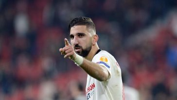 Sevilla's Israeli forward Moanes Dabour celebrates after scoring a goal during the UEFA Europa League Group A football match between Sevilla FC and Qarabag FK at the Ramon Sanchez Pizjuan stadium. (Getty Images)
