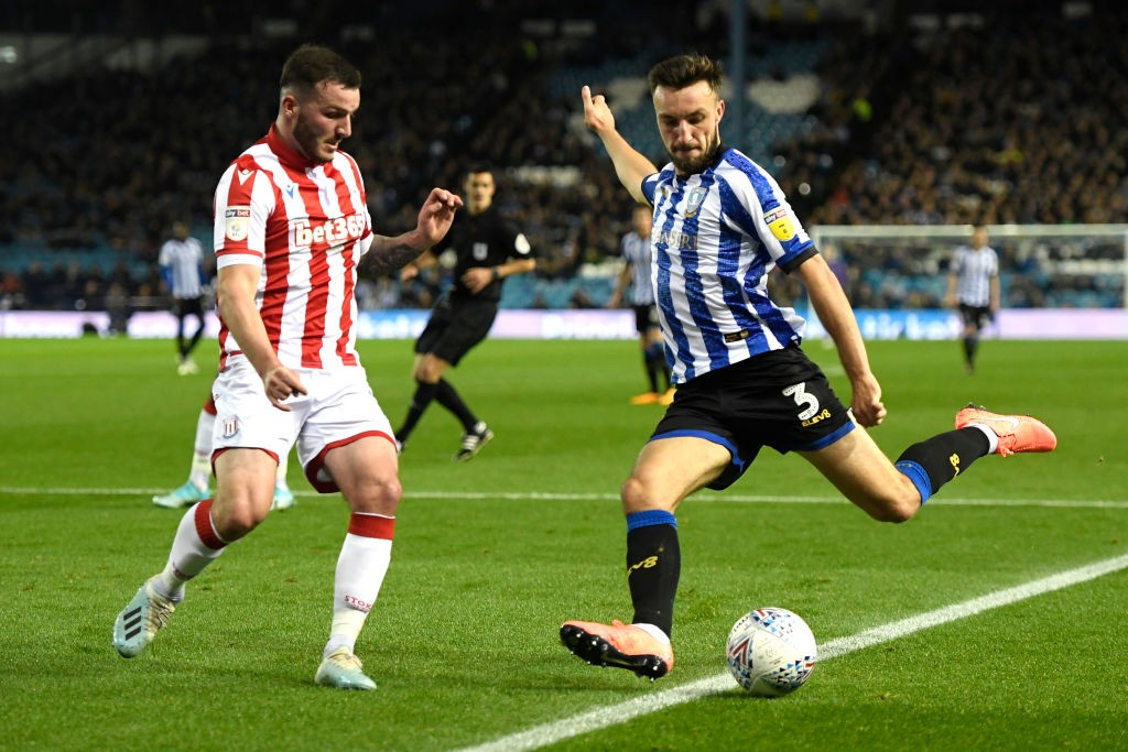Morgan Fox of Sheffield Wednesday shoots whilst being closed down by Thomas Edwards of Stoke City during the Sky Bet Championship match between Sheffield Wednesday and Stoke City at Hillsborough Stadium on October 22, 2019 in Sheffield, England. (Getty Images)