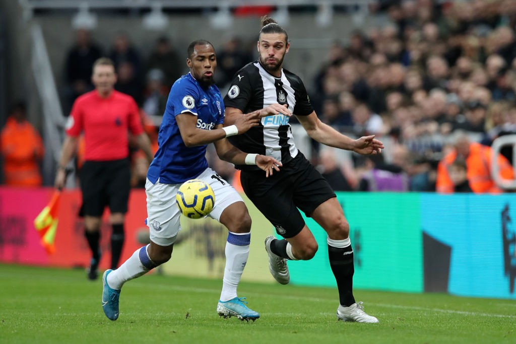 Djibril Sidibe of Everton battles for possession with Andy Carroll of Newcastle United during the Premier League match between Newcastle United and Everton FC at St. James Park on December 28, 2019 in Newcastle upon Tyne, United Kingdom. (Getty Images)