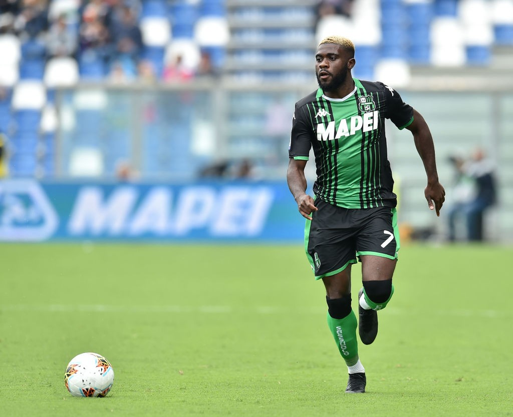 Sassuolo's Boga moves forward with the ball during a Serie A encounter.