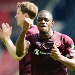 Uche Ikpeazu of Hearts celebrates victory at full-time of the Scottish Cup Semi Final match between Heart of Midlothian and Inverness Caledonian Thistle at Hampden Park. (Getty Images)