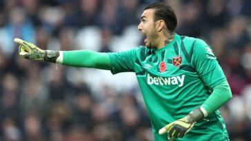 West Ham goalkeeper Roberto Jimenez barking orders to his teammates. (Getty Images)