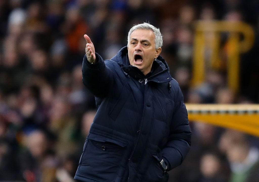 Tottenham boss Jose Mourinho seen barking orders to his team during a Premier League match.