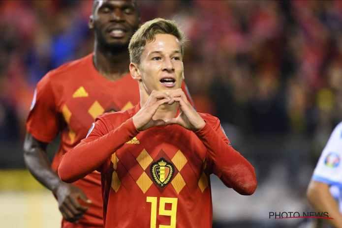 Yari Verschaeren celebrates after scoring for Belgium against San Marino in the Euro Qualifiers (Image credit: Google)