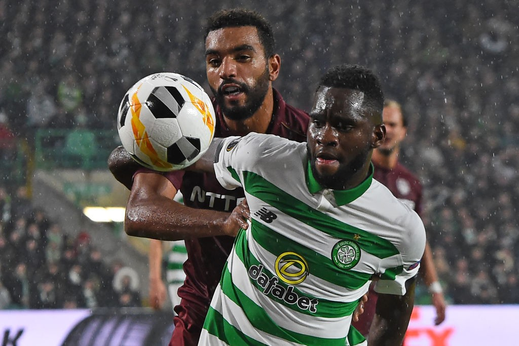 CFR Cluj's French forward Billel Omrani (left) vies with Celtic's French forward Odsonne Edouard (right) during the UEFA Europa League group E football match between the two sides at Celtic Park Stadium in Glasgow, Scotland.