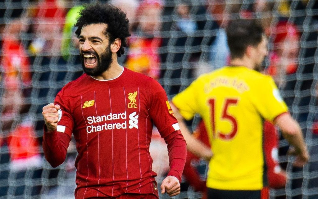 Mohamed Salah celebrates after scoring against Watford (Image credit: Google)