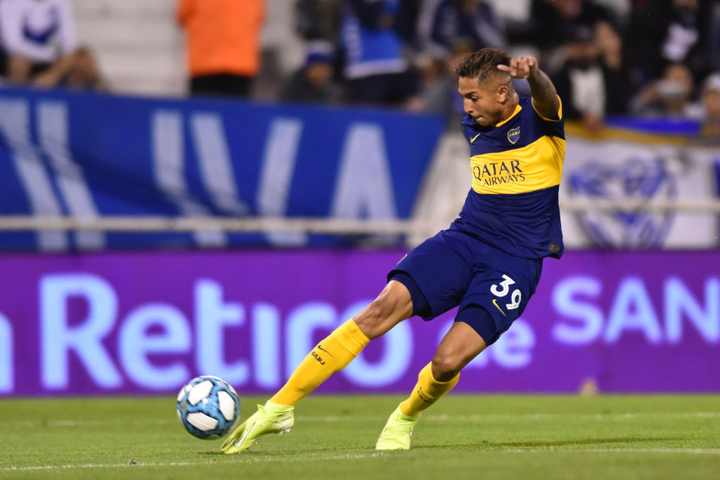 Agustin Almendra of Boca Juniors kicks the ball during a match between Velez and Boca Juniors as part of Superliga Argentina 2019/20 at Jose Amalfitani Stadium on November 10, 2019 in Buenos Aires, Argentina. (Getty Images)