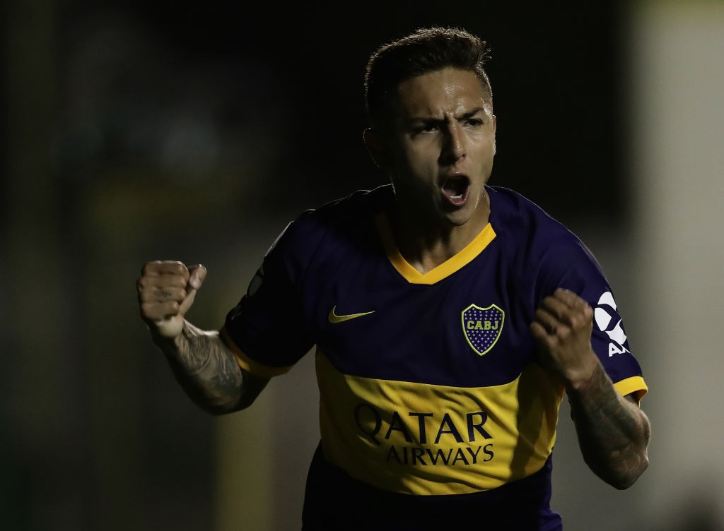 Boca Juniors' midfielder Agustin Almendra celebrates after scoring a goal against Defensa y Justicia during their Argentina First Division Superliga football match, at the Norberto Tomaghello stadium in Florencio Varela, Buenos Aires Province, on October 6, 2019. (Getty Images)