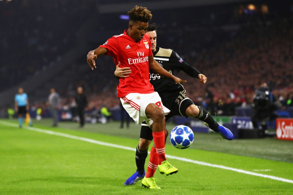 Benfica's Gedson Fernandes in action against Ajax in the Champions League group encounters.