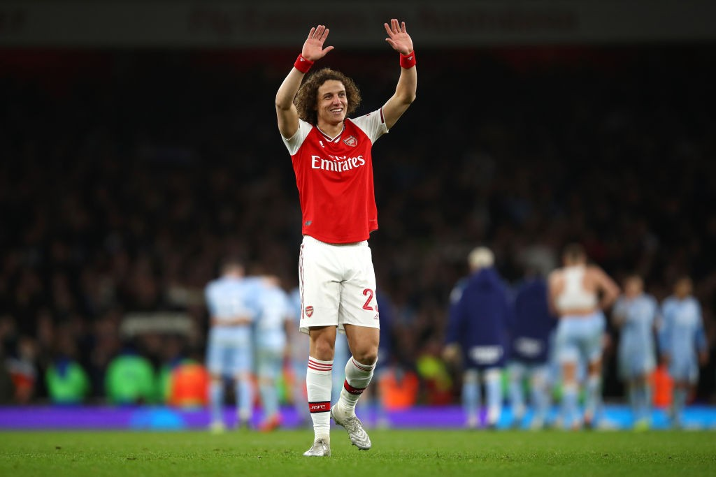 Arsenal centre-back David Luiz waving to the fans after the game against Leeds United (Getty Images)