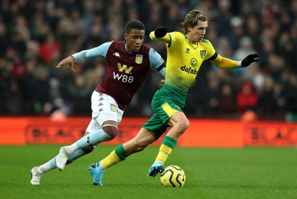 Cantwell in action for Norwich against Aston Villa.