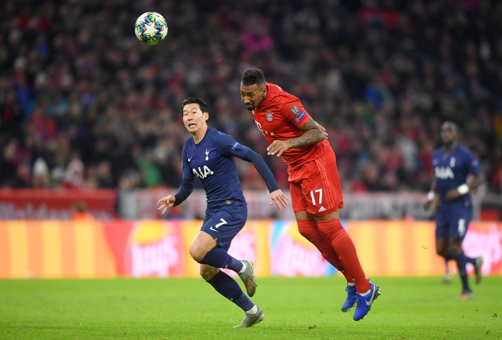 Boateng clears the ball during Bayern's game against Tottenham Hotspur in the Champions League.