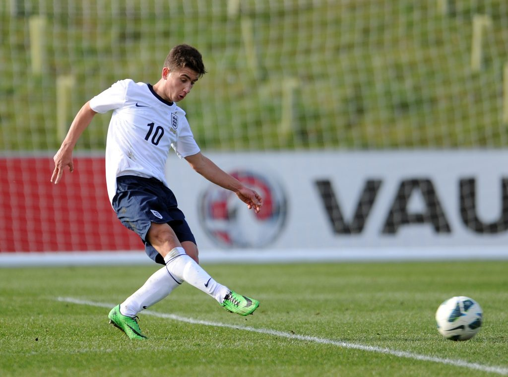 Cameron Brannagan in action for England U18 against Croatia U18 (Getty Images)