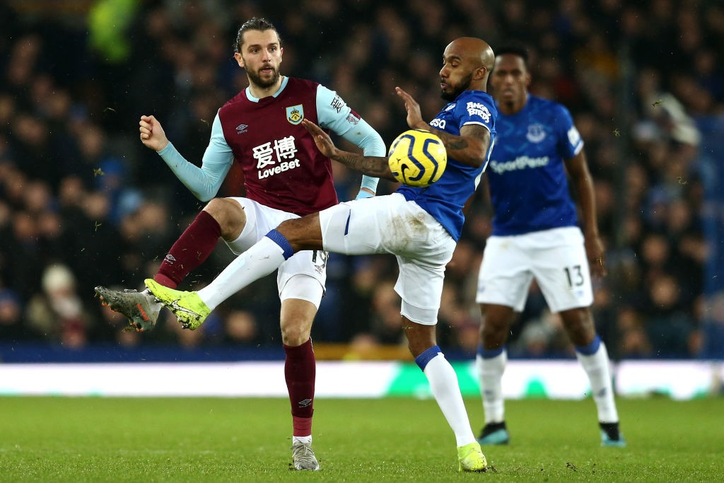 Rodriguez in action for Burnley against Everton in the Premier League.