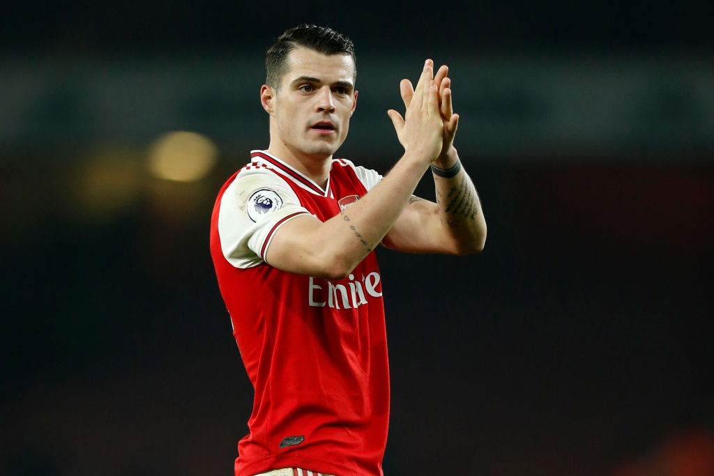 Arsenal's Granit Xhaka applauds the crowd after his side's 2-0 win over Manchester United.