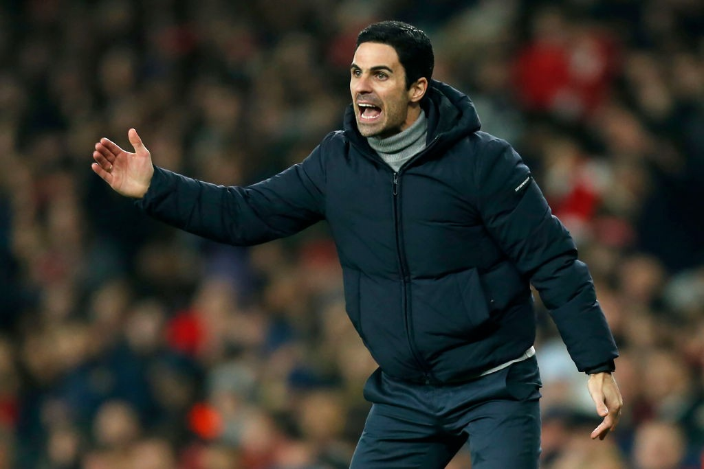 New Arsenal coach Mikel Arteta seen ordering instructions to his players during a Premier League encounter.