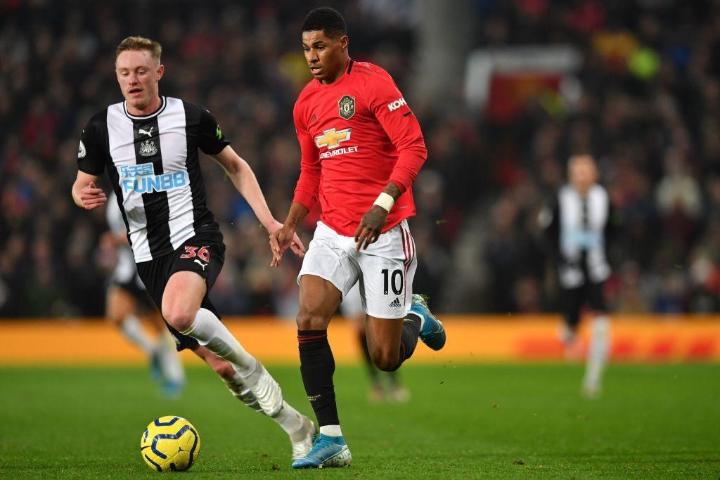 Newcastle's Longstaff seen marking Manchester United's Marcus Rashford.