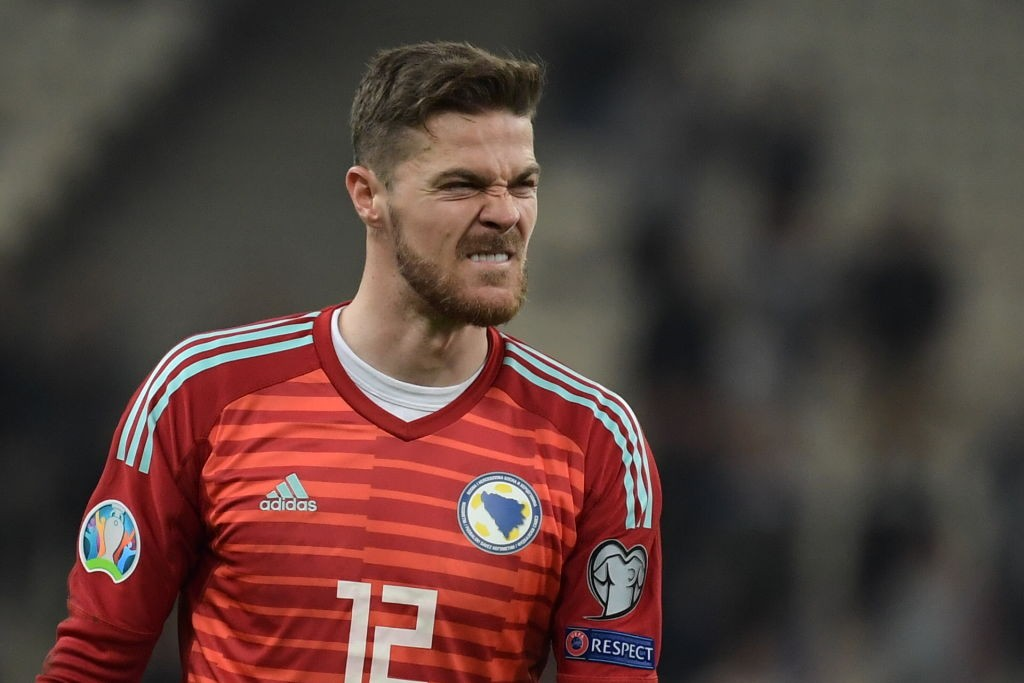 Bosnia's goalkeeper Ibrahim Sehic reacts at the end of the Euro 2020 Group J qualification football match between Greece and Bosnia-Herzegovina at the OACA Spyros Louis stadium in Athens on October 15, 2019. (Getty Images)
