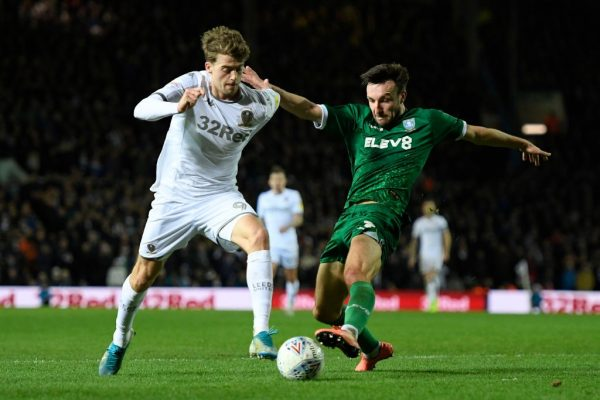 Patrick Bamford of Leeds United battles for possession with Morgan Fox of Sheffield Wednesday during the Sky Bet Championship match between Leeds United and Sheffield Wednesday at Elland Road on January 11, 2020 in Leeds, England. (Getty Images)