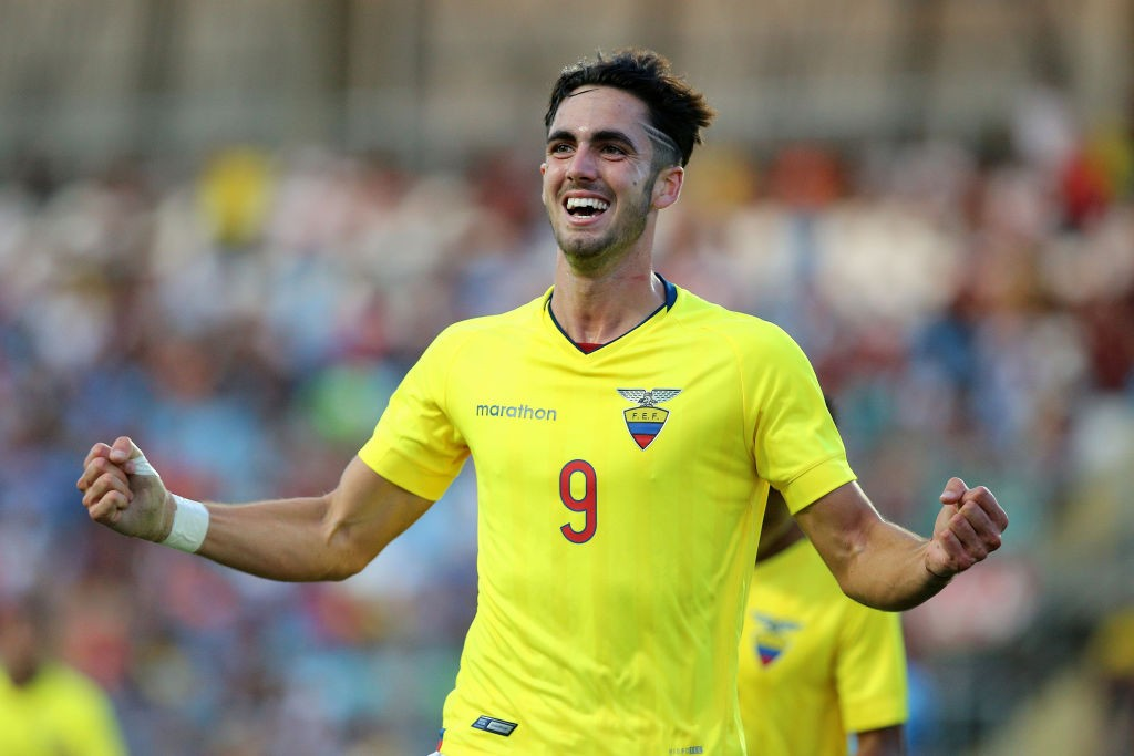 Ecuador's Leonardo Campana celebrates after scoring against Venezuela during their South American U-20 football match at El Teniente stadium in Rancagua, Chile on February 10, 2019. (Getty Images)