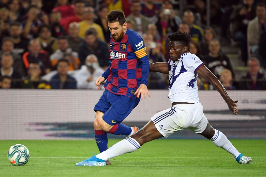 Barcelona's Argentine forward Lionel Messi vies with Valladolid's Ghanaian defender Mohammed Salisu during the Spanish league football match between FC Barcelona and Real Valladolid FC at the Camp Nou stadium in Barcelona on October 29, 2019. (Getty Images)