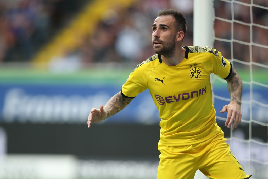 Paco Alcacer of Borussia Dortmund reacts during the Bundesliga match between Eintracht Frankfurt and Borussia Dortmund at Commerzbank-Arena on September 22, 2019 in Frankfurt am Main, Germany. (Getty Images)
