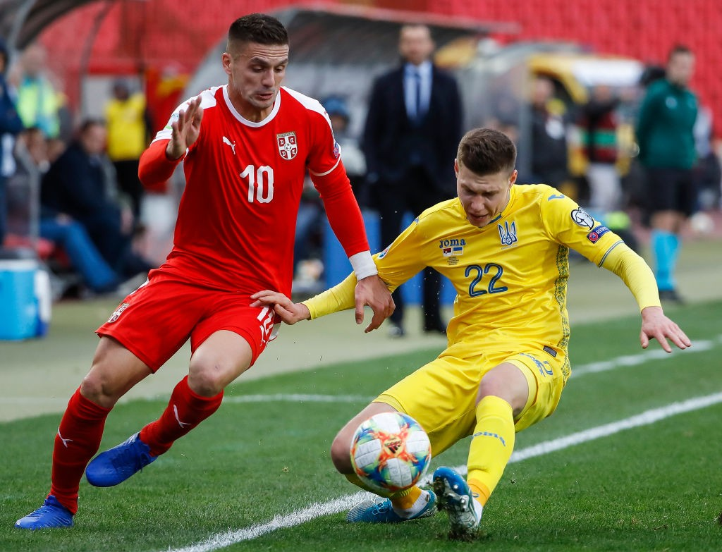 Mykola Matviyenko (R) in action for Ukraine against Serbia (Getty Images)