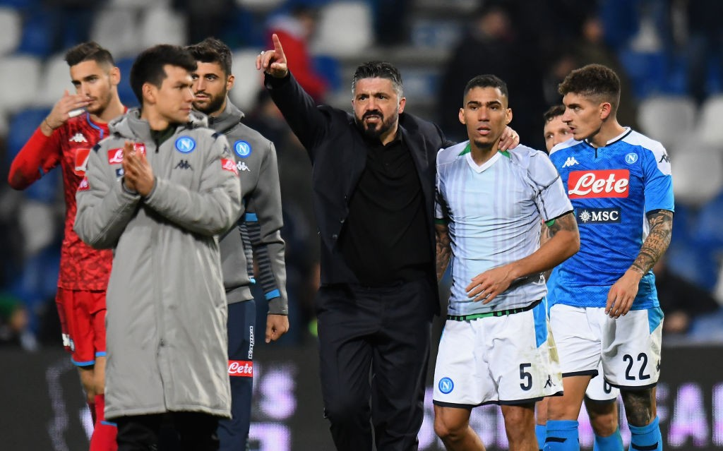 New Napoli boss Gennaro Gattuso seen celebrating his side's victory alongside his players.